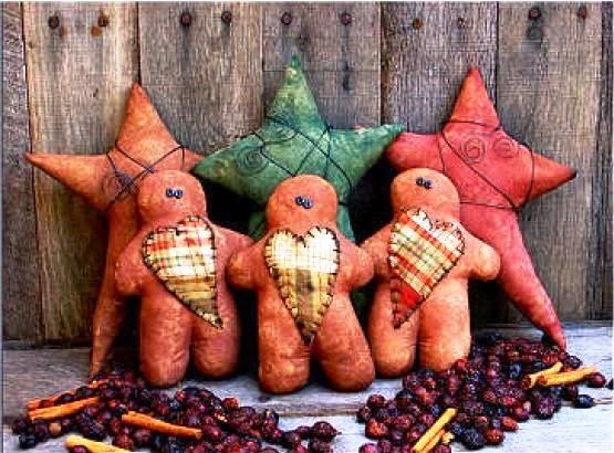 Bonecos Ginger de tecido para o natal
