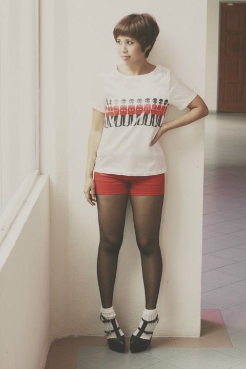 London Soldier print shirt, casual outfit, vintage outfits, red satin shorts, dolly wedges, lace socks