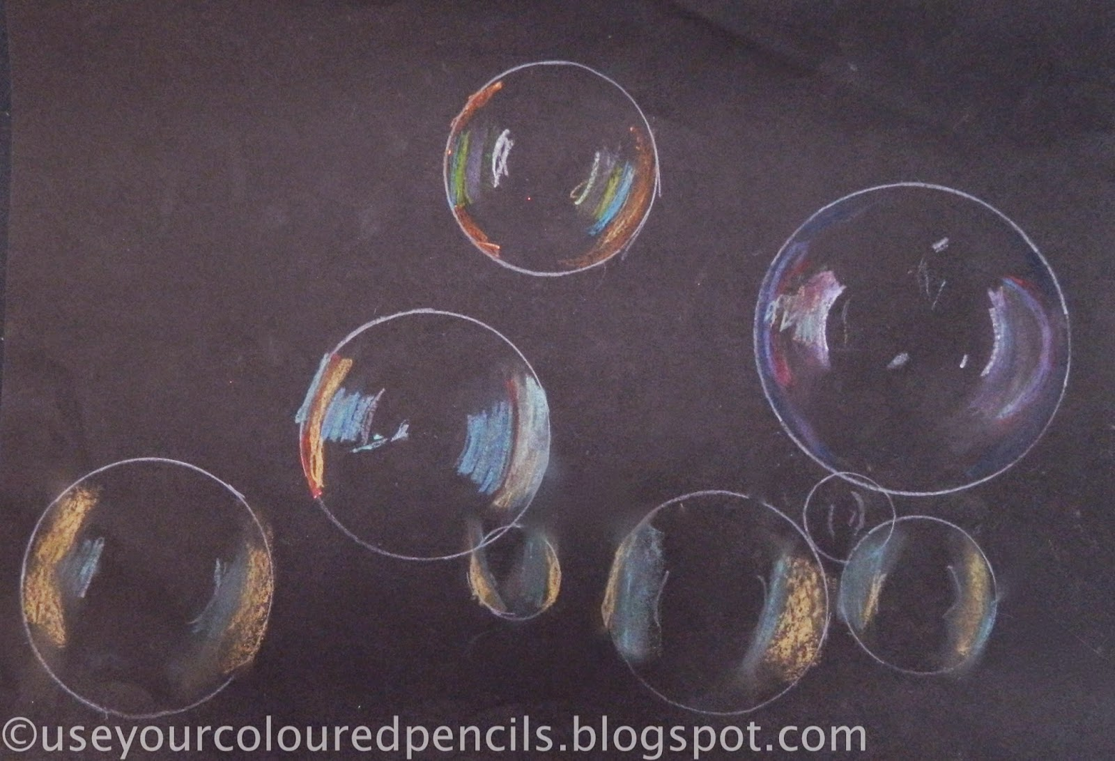 use your coloured pencils bubble drawings