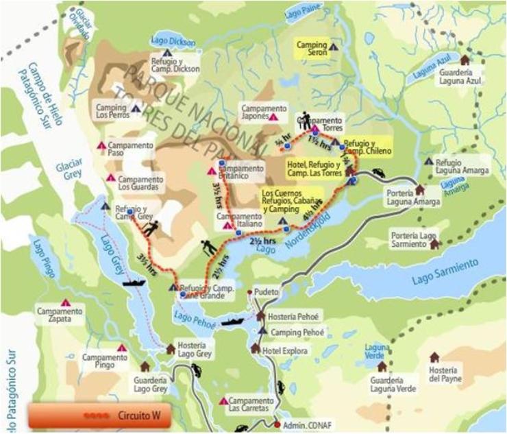 Circuito W Torres Del Paine Mapa : Mi maleta de los sueños experiencia patagónica torres