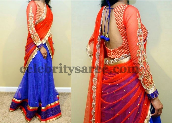 Blue and Orange Brasso Half Saree