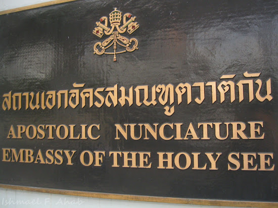 Signage of the Embassy of Holy See to Thailand