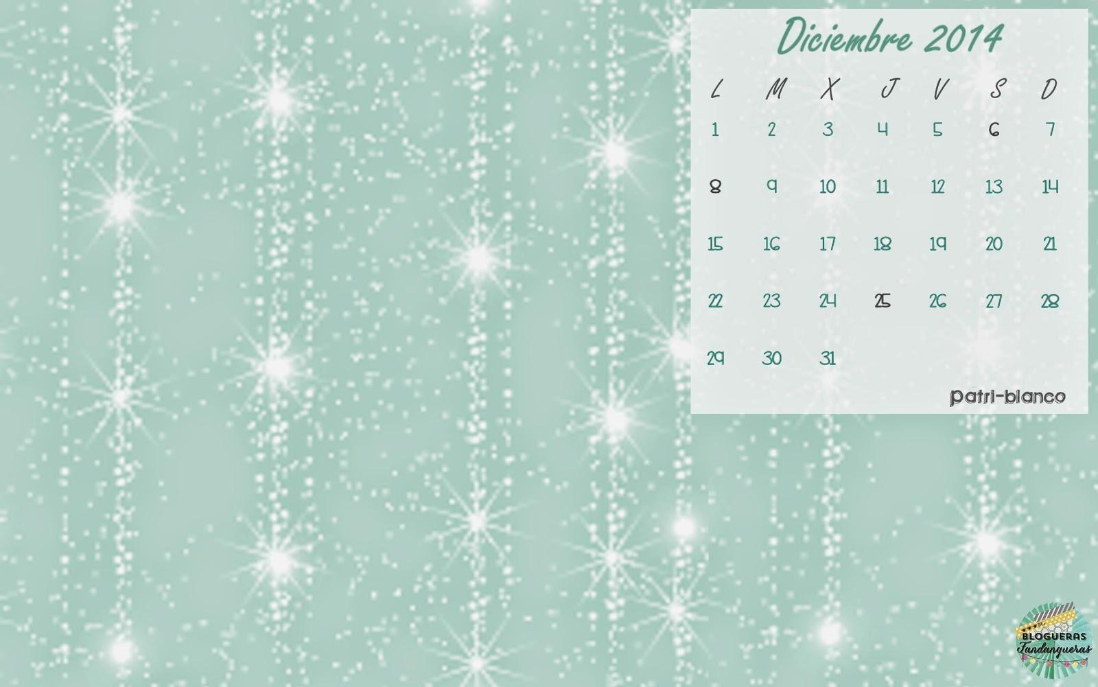 Fondo de escritorio calendario Diciembre
