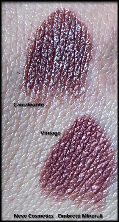 Neve Cosmetics - Ombretti Minerali - Swatch di confronto tra Vintage e Camaleonte
