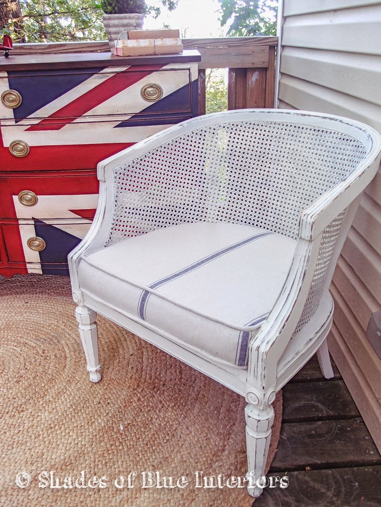 My First Project Using It Was To Upholster These Barrel Back Cane Chairs: