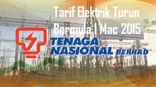 Tarif Elektrik Turun Bermula 1 Mac 2015