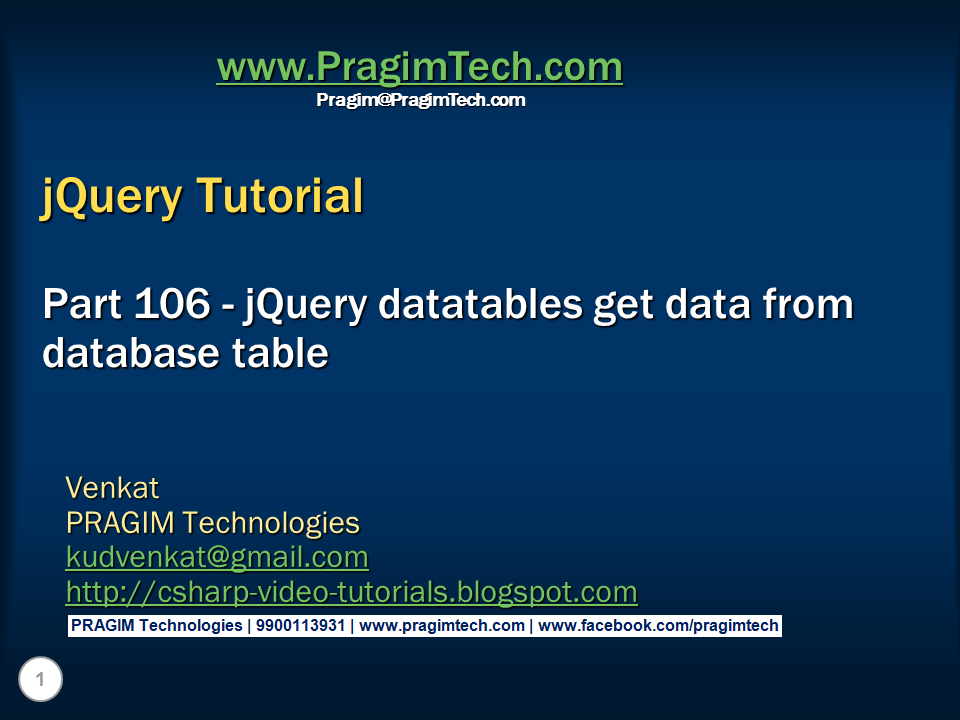 Sql server net and c video tutorial jquery datatables for Jquery get the with the table
