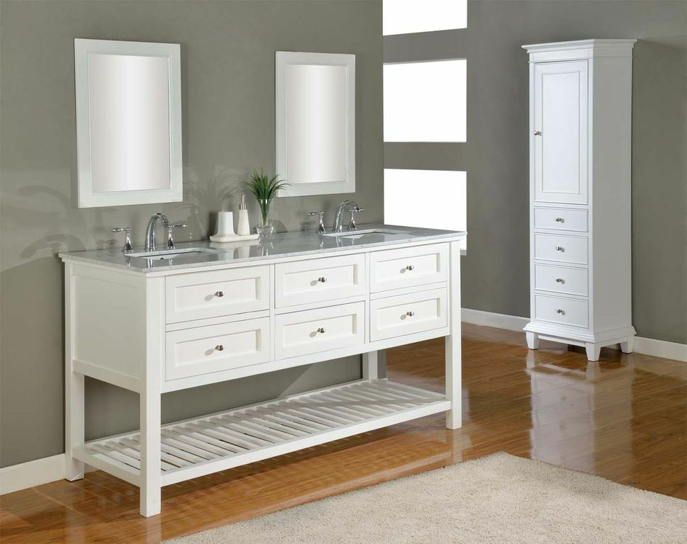 Discount bathroom vanities soft white finish bathroom for Bathroom vanity cabinets