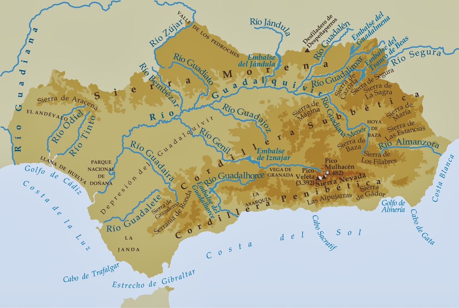 La alacena de las Ciencias Sociales Mapa fsico de Andaluca