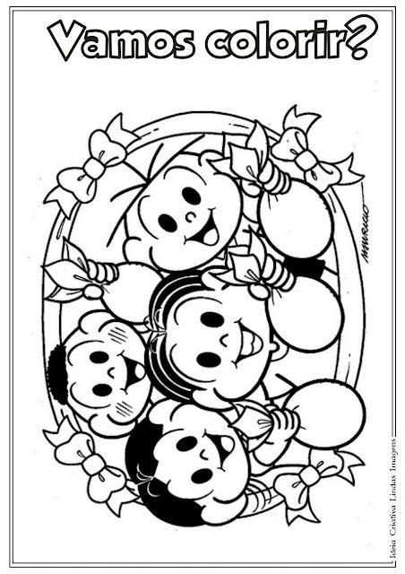 Desenho para colorir Páscoa com Turma da Mônica