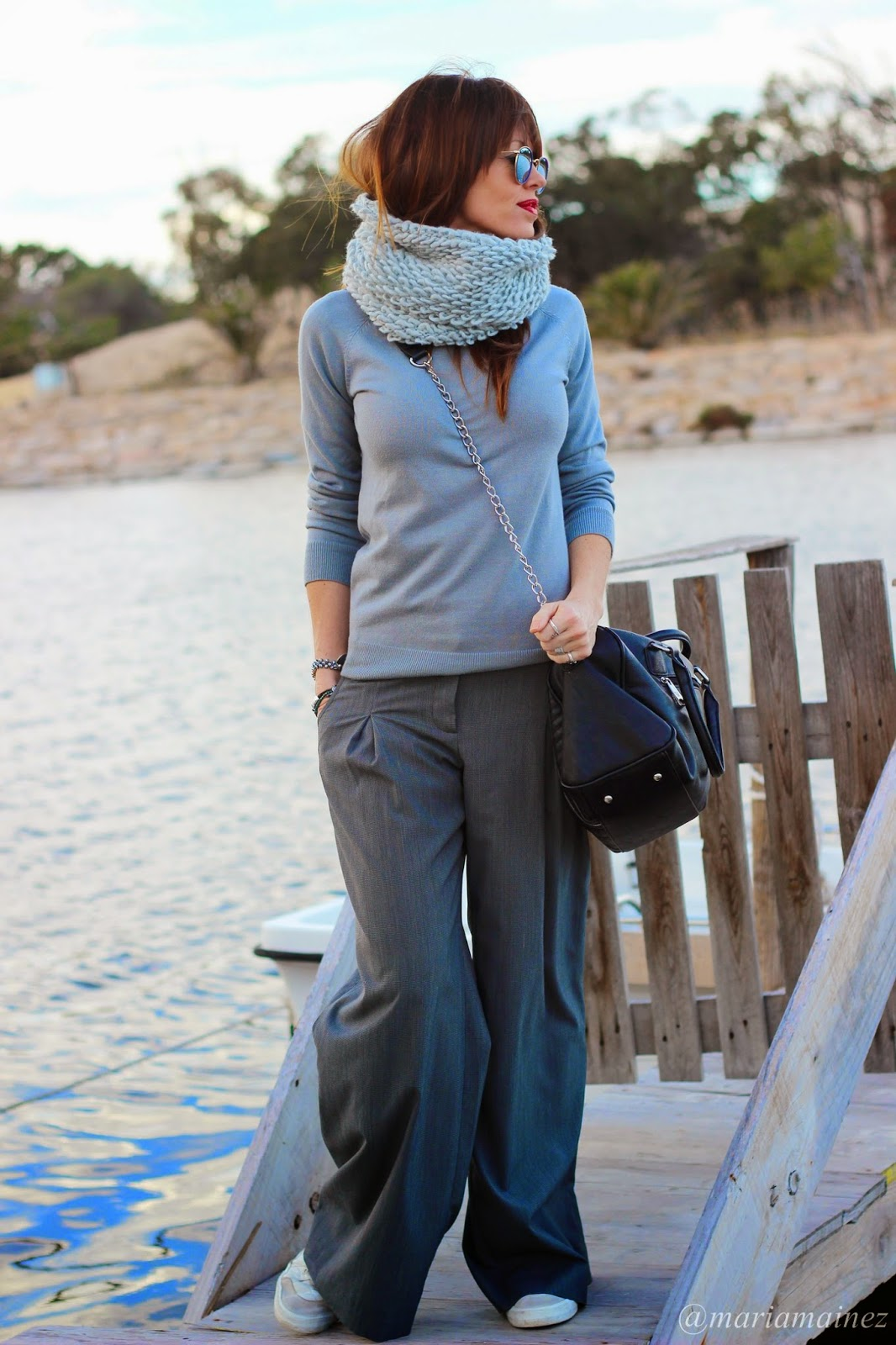 Total look grey - fashion blogger - palazzo trousers - white sneakers - bbeautifulbymaria - sporty outfit
