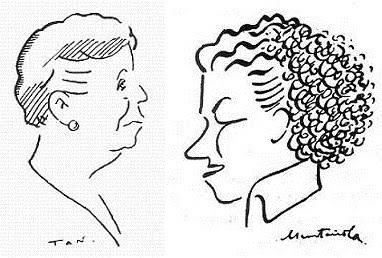 Caricaturas de las ajedrecistas Sofía Ruiz y Gloria Velat
