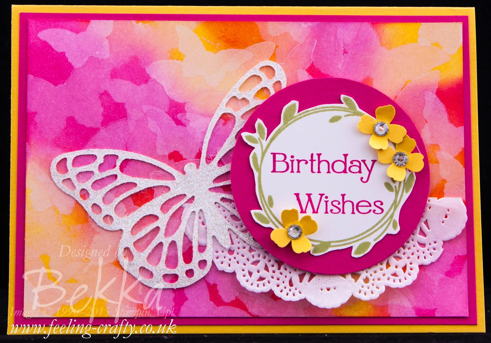 Bold Bright Beautiful Butterfly Bokeh Birthday Card using Stampin' Up! UK Products - check it out here