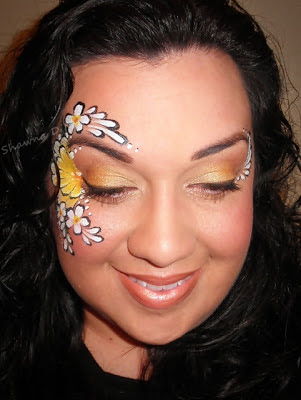 shawna d makeup sunflower/daisy face painting today's fotd
