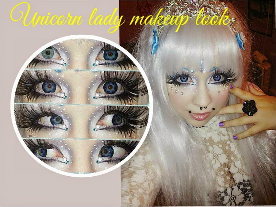 Unicorn Lady Makeup Tutorial using Silver Wig & Star Blue Lenses