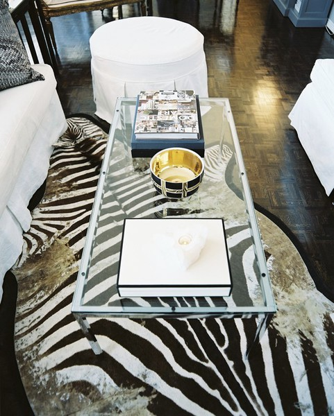 Lonny Mag Zebra Hide Rug Glass Coffee Table