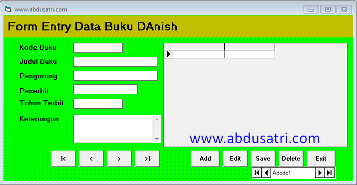 membuat program entry data buku dengan VB