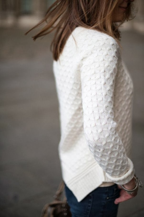 crisp white sweater