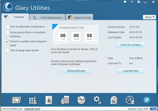 Glary Utilities overview screen Shot