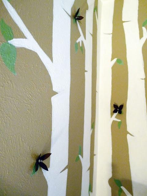 The happy homebodies birch tree nursery mural for Birch tree mural nursery