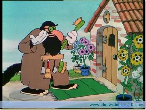 Il Lupo cattivo dei Tre porcellini con la maschera da mercante ebreo