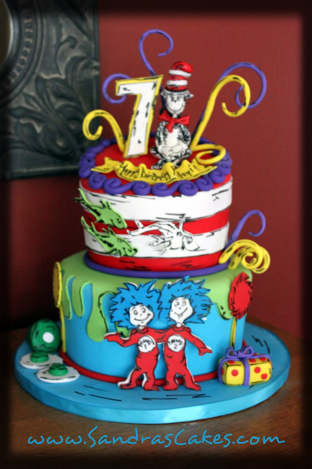 On Birthday Cakes Dr Seuss inspired birthday cake