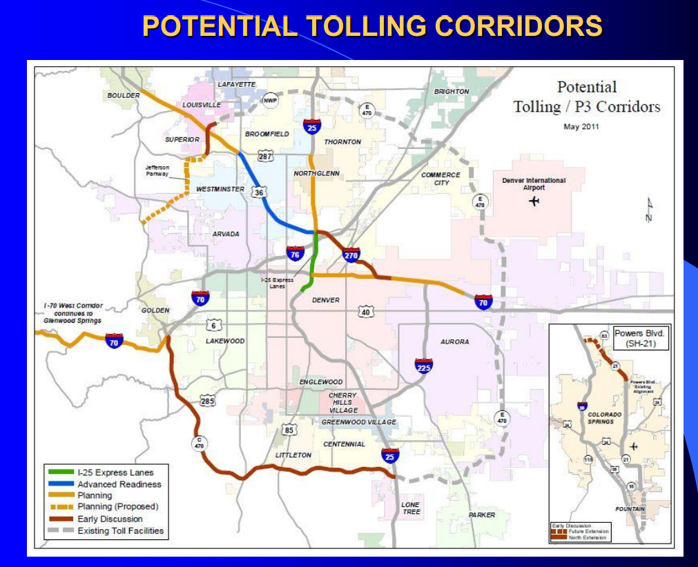 Denver Direct January - Us map with toll roads on it