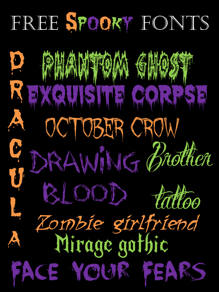 imagine these great spooky fonts on invitations or goody bags for your kids school parties they would make a good party great - Good Halloween Font