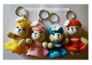 Amigurumi Yellow Pink Blue Red Cute Bear Keychains Pattern
