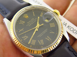 ROLEX OYSTER PERPETUAL DATE JUST BLACK ROMAN DIAL aka BUCKLEY DIAL - ROLEX 1601 BUCKLEY DIAL