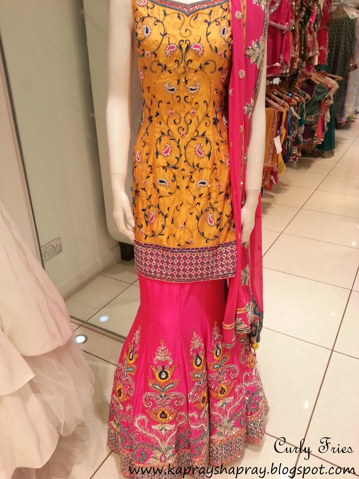 Curly Fries HIGH STREET DESIGNS A Yellow and Pink Mehndi outfit