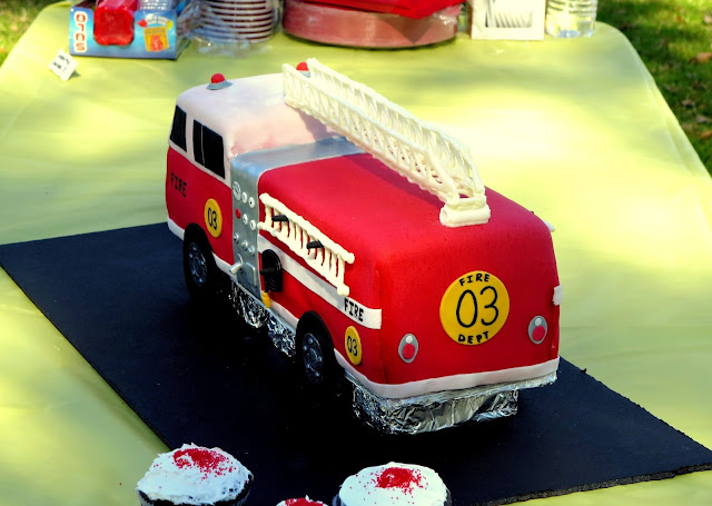 3D Fire Truck Cake - Back Angle View