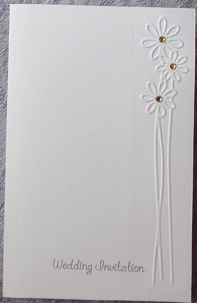 Beautiful Hand Embossed Daisy Wedding Invitations with either Pearl