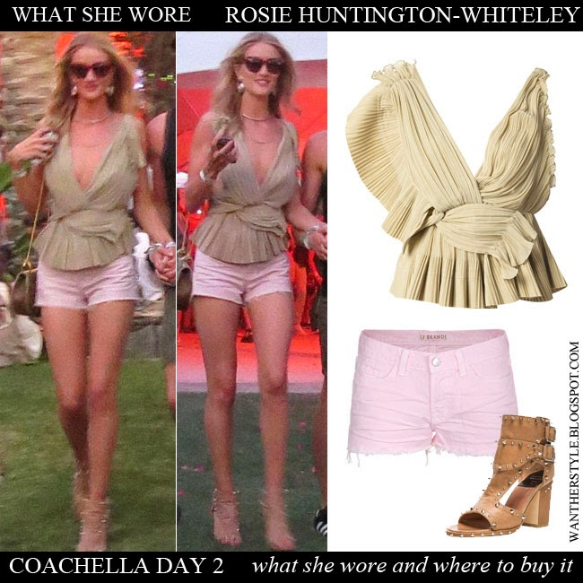 Rosie Huntington Whiteley in beige pleated wrap top Chloe with pink shorts J brand 1046 and beige open toe ankle boots Laurence Dacade Deric Coachella 2014 Want Her Style