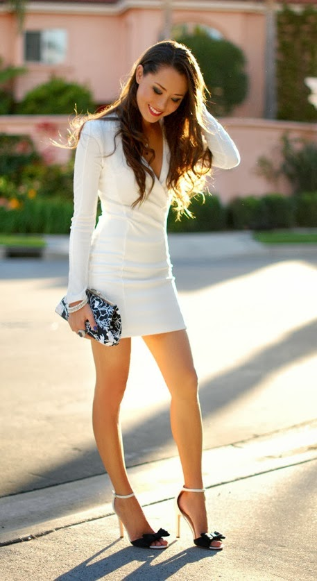 Gorgeous sleeve white mini dress fashion