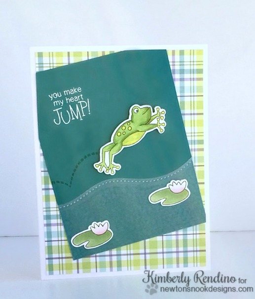 handmade card | frog | lily pad | papercrafts | kimpletekreativity.blogspot.com | kimberly rendino | newton's nook designs | hoppy days