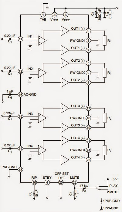 Circuit diagram for  43 W BTL × 4-ch Audio Power IC