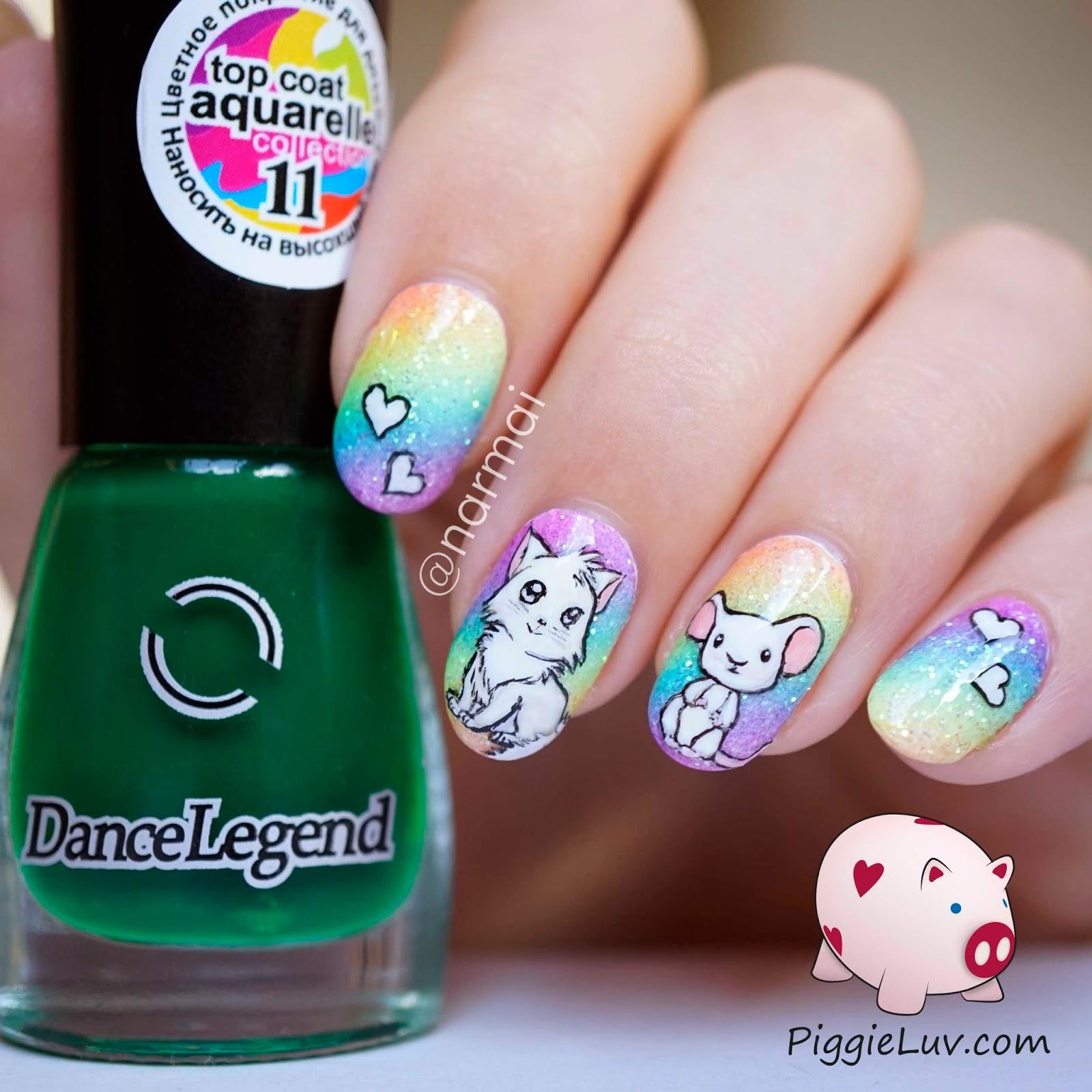 Piggieluv Rainbow Bubbles Nail Art: PiggieLuv: Cat-astrophic Glitter Rainbow Nail Art