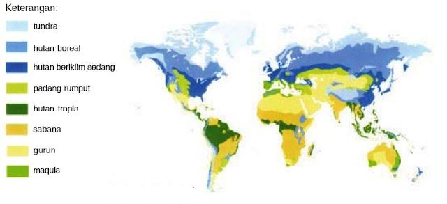 Peta persebaran biosfer dan tumbuhan