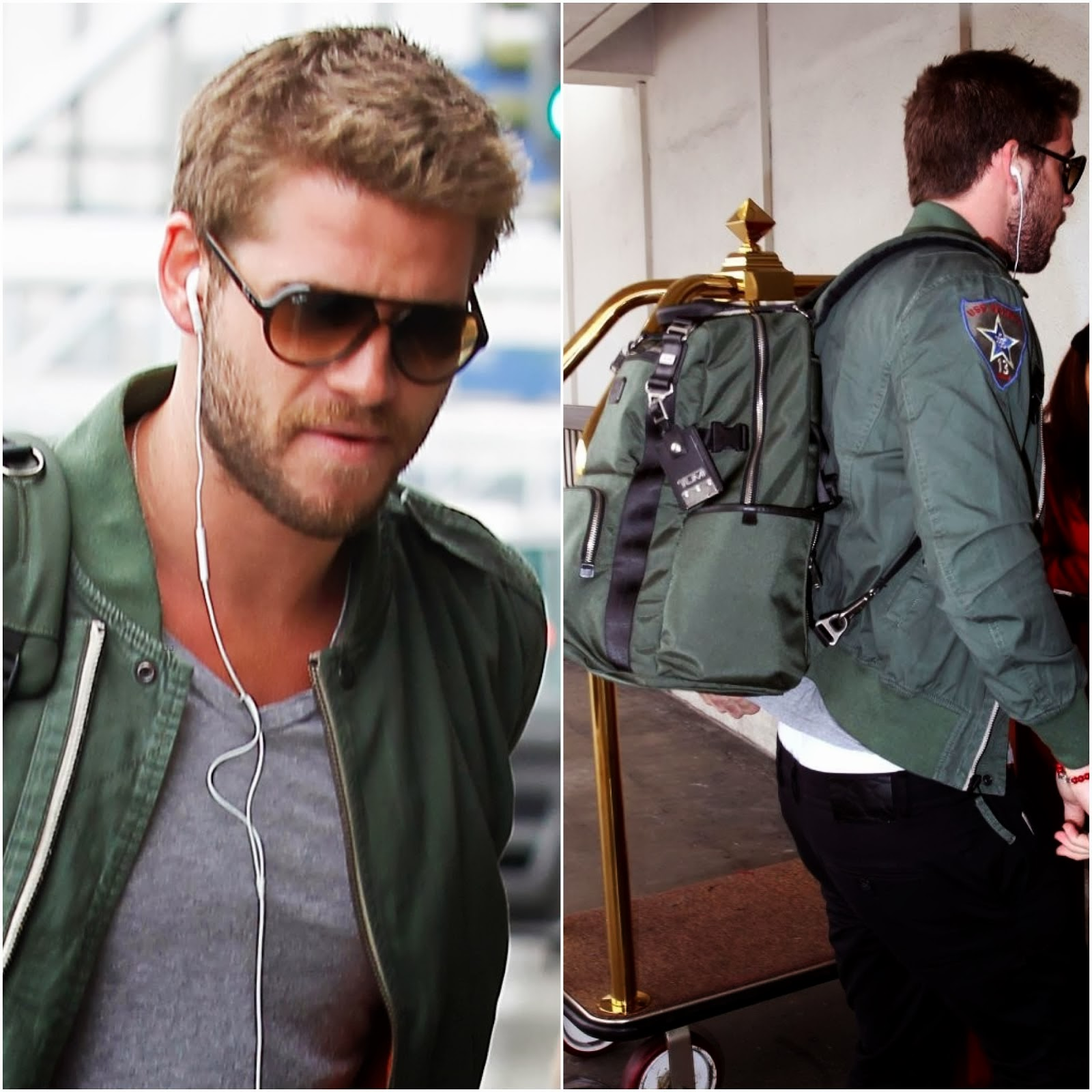 00O00 Menswear Blog: Liam Hemsworth's Tumi Kingsville Deluxe Alpha Bravo backpack / Liam Hemsworth departing on a flight at LAX airport in Los Angeles, California on August 4, 2013.