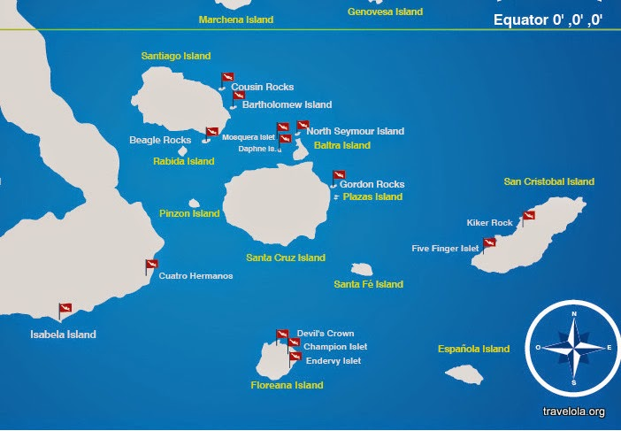 Diving map of the GALAPAGOS Islands showing water depth.