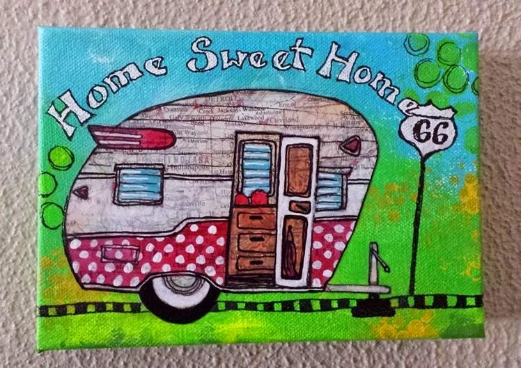 I Painted A Vintage Camper On An Old Map Of The United States And Added Some Doodling Love Campers Someday Hope To Have Little Canned