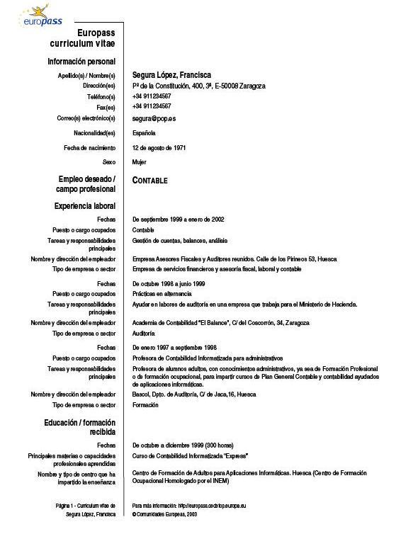 tipo curriculum vitae formato europeo europass