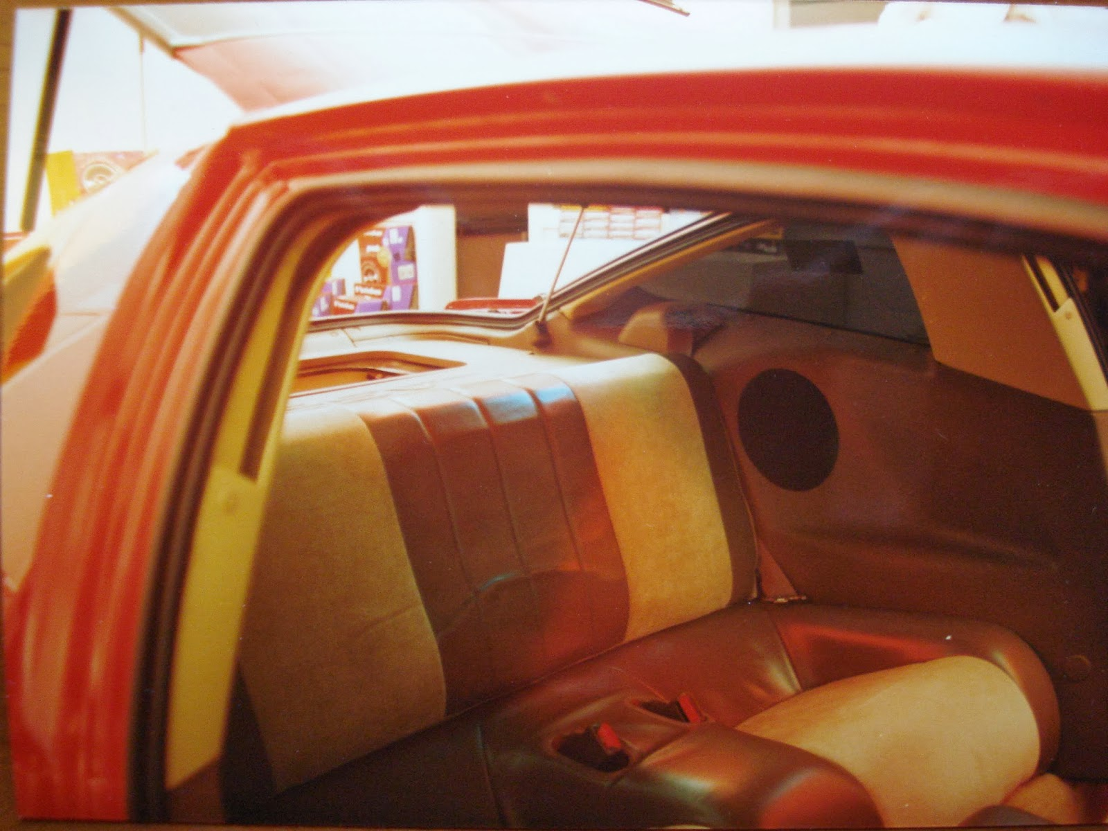 Photo image of the rear interior showing the rear seat area after being motorized back into position in Chuck Barbosa's Red Laser as it stood during the winter storage at the end of 1995 and beginning of 1996.