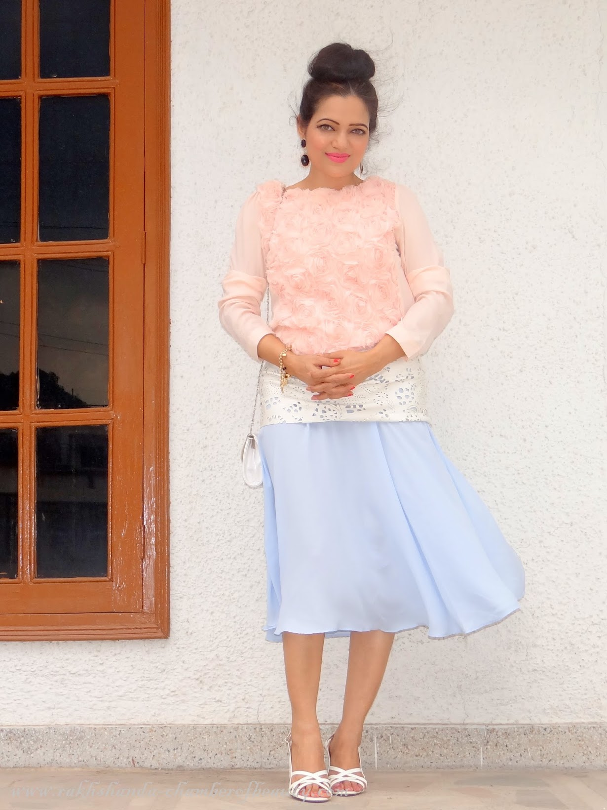 Gone with the wind- OOTD | How to style a pleated midi skirt, Front Row Shop, Outfit of the day, Indian Fashion blogger, Chamber of Beauty