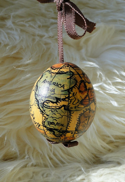 Globe Easter Egg Handpainted in Austria
