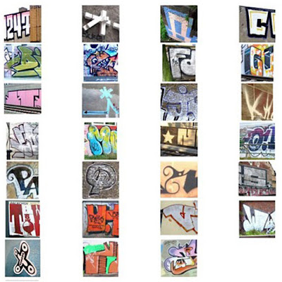Alphabet letter A-Z graffiti tagging