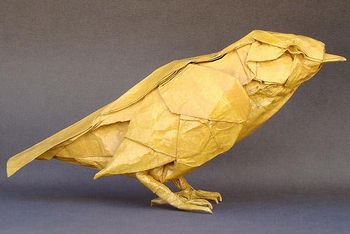 pájaro origami papel