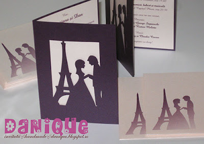 invitatii de nunta cu siluete decupate si Turnul Eiffel