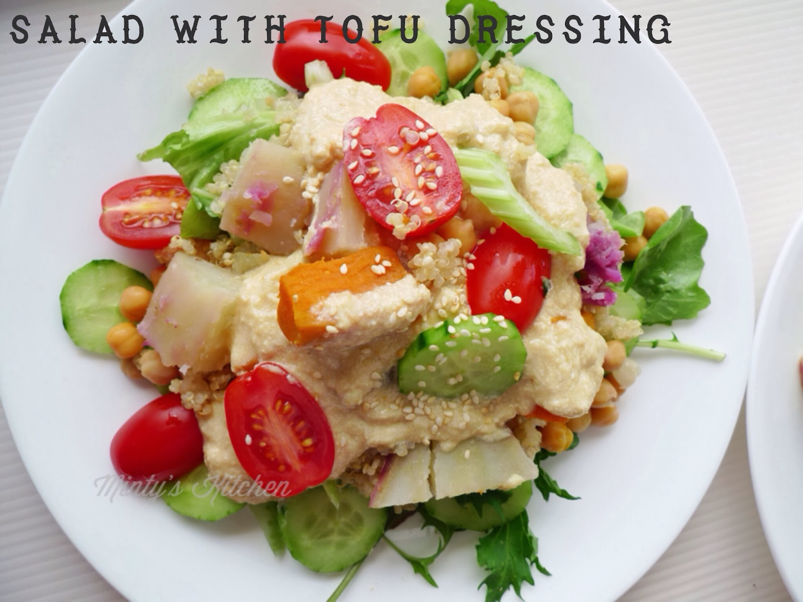 Minty's Kitchen: Tofu Dressing on Salad